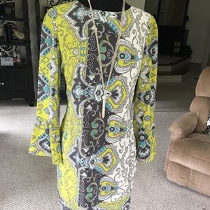 Anthropologie Yoana Baraschi lime/turquoise dress
